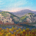 Whitehorse And Cathedral Ledges From The Red Jacket Inn by Sharon E Allen