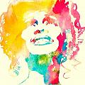 Whitney Houston Watercolor Canvas by Dan Sproul