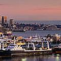 Wider Seattle Skyline And Rainier At Sunset From Magnolia by Mike Reid