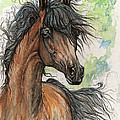 Wieza Wiatrow Polish Arabian Mare Watercolor Painting  by Angel Ciesniarska
