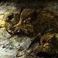 Wild Boars Running Across The Snow by Angel Ciesniarska