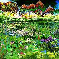 Wild Flower Mountain Impressionism Landscape Art by Mary Clanahan