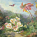 Wild Flowers And Butterfly by Jean Marie Reignier
