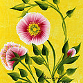 Wild Roses On Yellow by Barbara Griffin