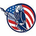 Wild Turkey Perching American Flag by Aloysius Patrimonio