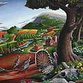 Wild Turkeys In The Hills Country Landscape - Square Format by Walt Curlee