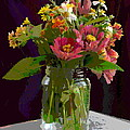 Wildflowers And Zinnias In A Jar  Contemporary Digital Art by G Linsenmayer