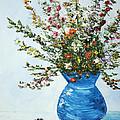 Wildflowers In A Blue Vase by Linda Boss
