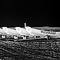 Wildwood Lifeboats At Night In Black And White by Bill Cannon