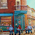 Wilensky Montreal-fairmount And Clark-montreal City Scene Painting by Carole Spandau