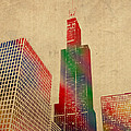 Willis Sears Tower Chicago Illinois Watercolor on Worn Canvas Series by Design Turnpike