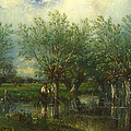 Willows With A Man Fishing by Jules Dupre