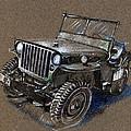 Willys Car Drawing by Daliana Pacuraru