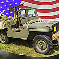 Willys World War Two Army Jeep And American Flag by Keith Webber Jr