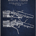 Winchester Firearm Patent Drawing From 1877 - Navy Blue by Aged Pixel