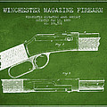 Winchester Firearm Patent Drawing From 1888- Green by Aged Pixel