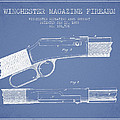 Winchester Firearm Patent Drawing From 1888- Light Blue by Aged Pixel