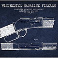 Winchester Firearm Patent Drawing From 1888- Navy Blue by Aged Pixel