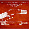 Winchester Firearm Patent Drawing From 1888- Red by Aged Pixel