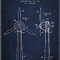 Wind Turbines Patent From 1984 - Navy Blue by Aged Pixel