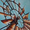 Windmill And Hawk by Greg and Linda Halom