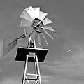 Windmill And Passing Plane by Tara Potts