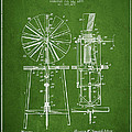 Windmill Patent Drawing From 1899 - Green by Aged Pixel