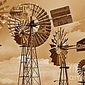 Windmills In Sepia by Mae Wertz