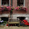 Window Box Bicycle And Bench  -- Amsterdam by Thomas Marchessault