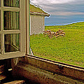 Window On Sod-covered Roof In Louisbourg Living History Museum-1744-ns by Ruth Hager