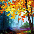 Window To The Fall - Palette Knife Oil Painting On Canvas By Leonid Afremov by Leonid Afremov