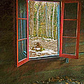 Window With View Abandoned Elkmont Log Cabin Autumn by Rebecca Korpita