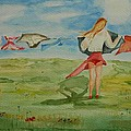 Windy Day Funny Watercolor by Geeta Biswas