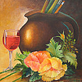 Wine And Poppies by Beverly Martin