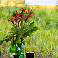Wine Bottle And Two Glasses by Les Palenik