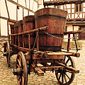 Wine Cart In Alsace France by Greg Matchick