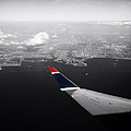 Wing Tip View Over Long Beach Ca Sc by Thomas Woolworth