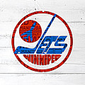 Winnipeg Jets Retro Hockey Team Logo Recycled Manitoba Canada License Plate Art by Design Turnpike