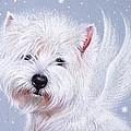 Winter Angel - Westie by Elena Kolotusha