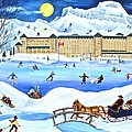 Winter At Lake Louise Chateau by Virginia Ann Hemingson