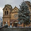 Winter At St Francis Cathedral In Santa Fe New Mexico by Dave Dilli