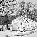 Winter At The Amish Schoolhouse - Bw by Chris Bordeleau