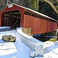 Winter At The Little Gap Covered Bridge by Dave Sandt