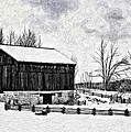 Winter Barn Impasto Version by Steve Harrington