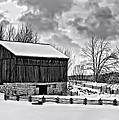 Winter Barn Monochrome by Steve Harrington