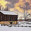 Winter Barn - Paint by Steve Harrington