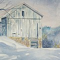 watercolor print Winter Barn painting for sale by Diane Jorstad