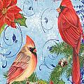 Winter Blue Cardinals-joy Card by Jean Plout