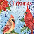Winter Blue Cardinals-merry Christmas Card by Jean Plout