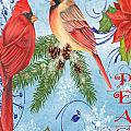 Winter Blue Cardinals-peace Card by Jean Plout